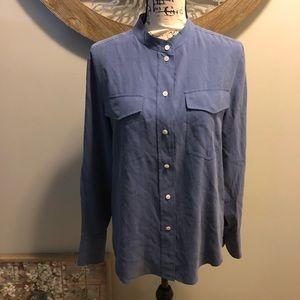 J Crew Silk Collarless Button Up Shirt